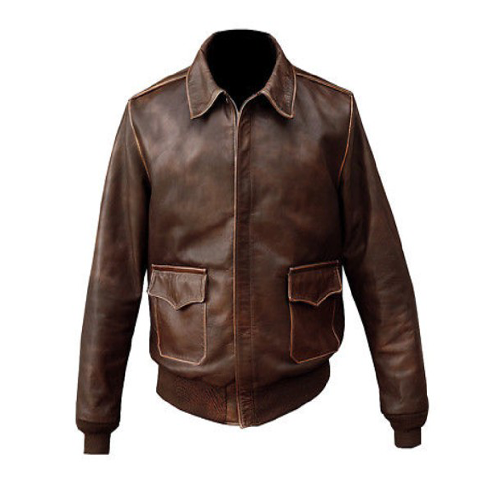 Men;s Brown Distressed Leather Bomber Jacket