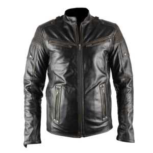 Mens Black Vintage Motorcycle Leather Jacket
