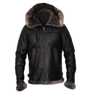 Men's Shearling Black Leather Bomber Jacket
