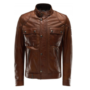 Men's Brown Motorcycle Gangster Style Jacket