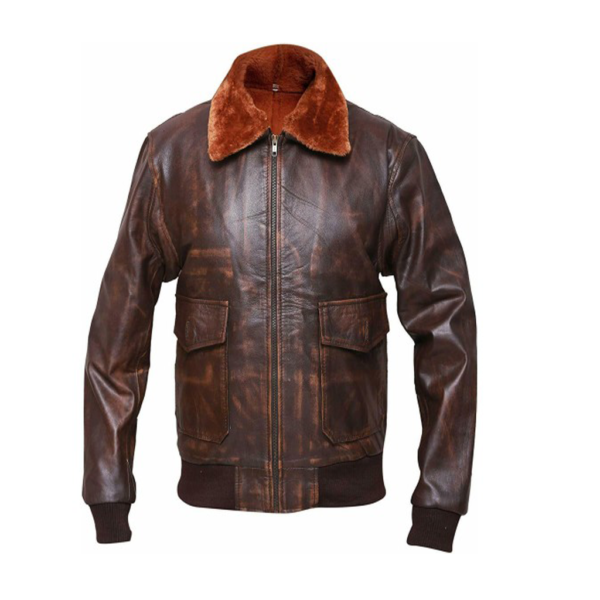Distressed Mens Brown Bomber Leather Jacket