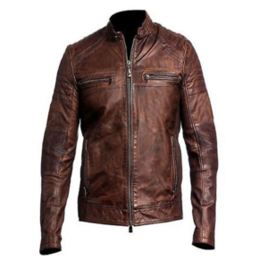 Mens Distressed Cafe Racer Brown Leather Jacket