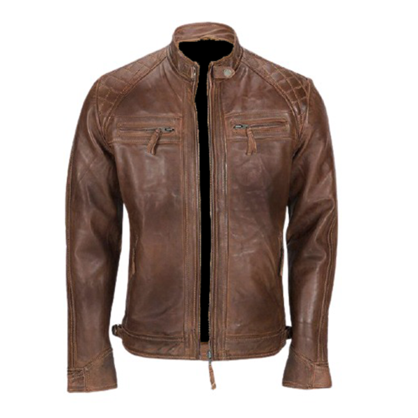 Men's Distressed Brown Leather Jacket lambskin shell