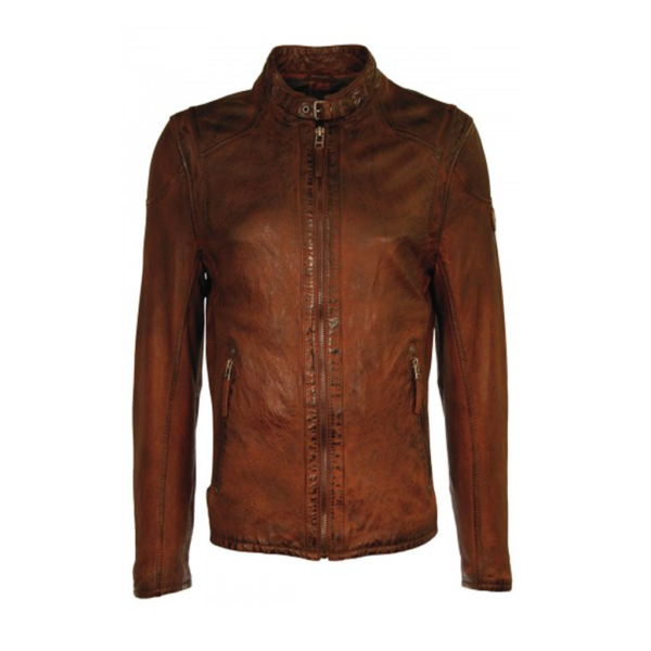 Simple Brown Bikers Slim fit Leather Jackets for Mens