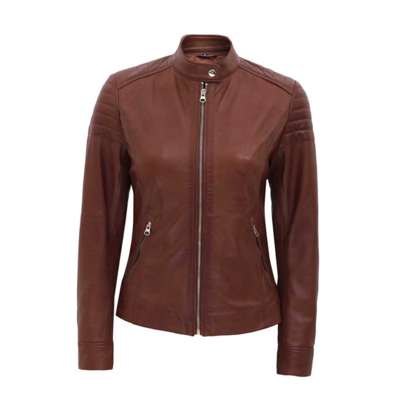 Womens Brown Fitted Lambskin Leather Jacket