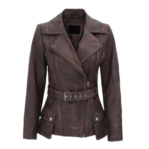 Womens Brown Distressed Lambskin Leather Jacket
