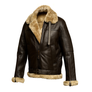 Men's Brown Sheepskin Shearling Leather Bomber Jacket
