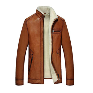 Mens Brown Lambskin Shearling Leather Jacket