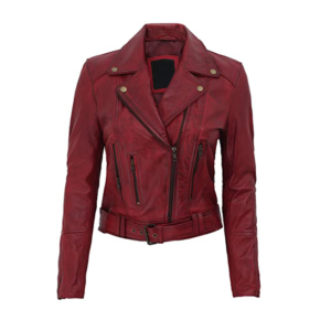 Modern Fit Biker Women's Maroon Leather Jacket