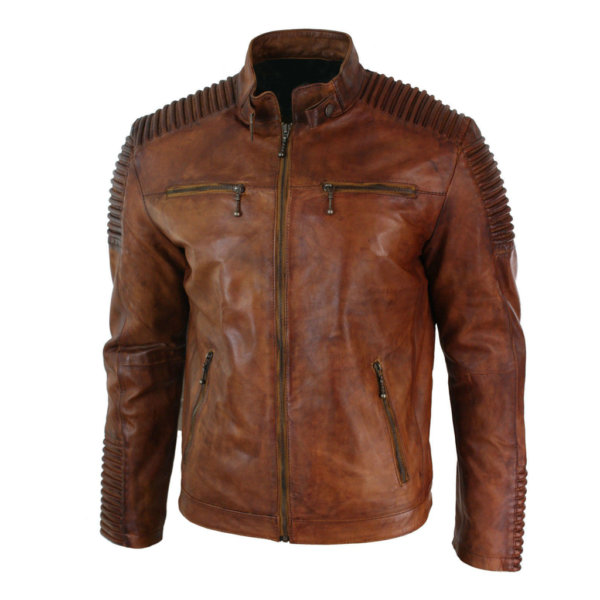 Mens Classic Brown Distressed Leather Motorcycle Jacket