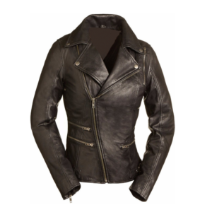 Riding Womens Black Leather Motorcycle Jacket