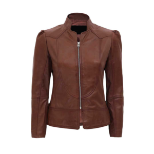 Women's Brown Fitted Moto Leather Jacket