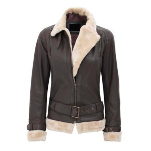 Womens brown leather jacket with fur collar