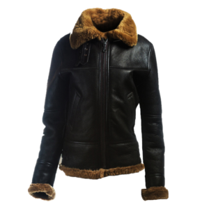 Women Black Sheepskin Bomber Leather Jacket