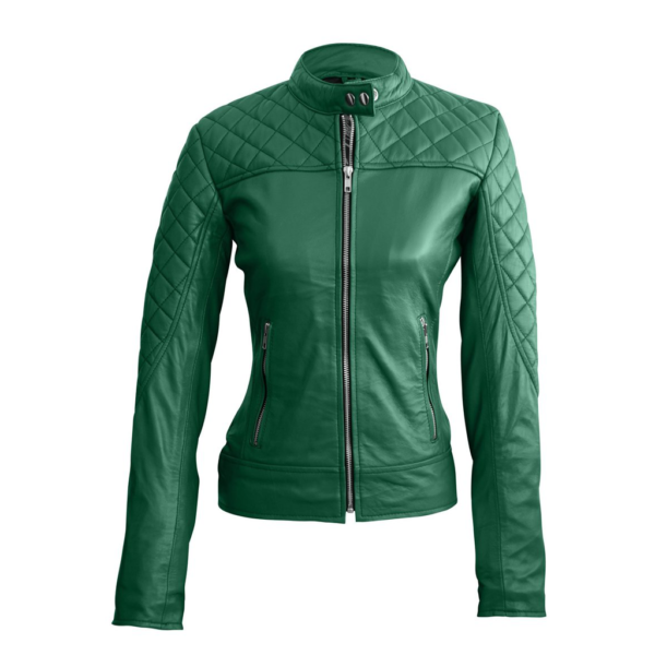 Stunning Green Women's Quilted Leather Jacket