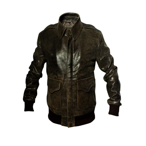 A2 Aviator Distressed Brown Leather Jacket for Mens