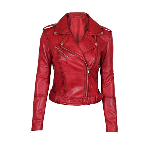 Asymmetrical Bikers Womens Red Leather Jacket