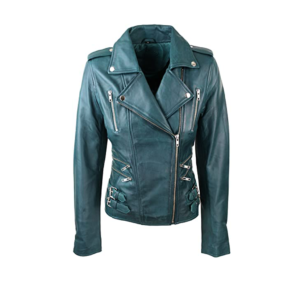 Bikers Teal Green Leather Jackets for Womens