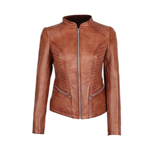 Brown Lambskin Women's Motorcycle Leather Jacket