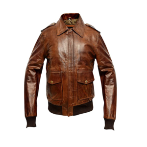 Mens A2 Aviator Waxed Distressed Brown Bomber Leather Jacket-1