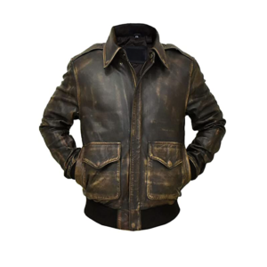 Mens Brown A2 Tiger Bomber Aviator Leather Flight Jacket