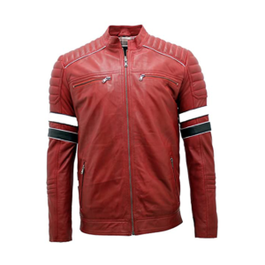 Mens Cafe Racer Motorcycle Cowhide Red Leather Jacket