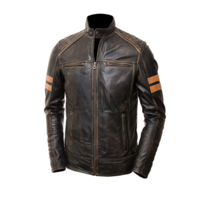 Mens Cafe Racer Motorcycle Distressed Brown Leather Jacket