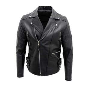 Mens Genuine Cowhide Black Leather Bikers Jacket