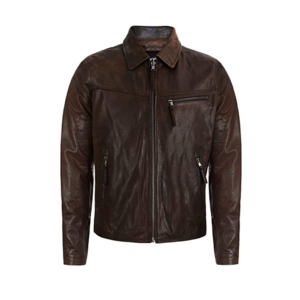 Mens Classic Collar Style Brown Sheepskin Leather Jacket