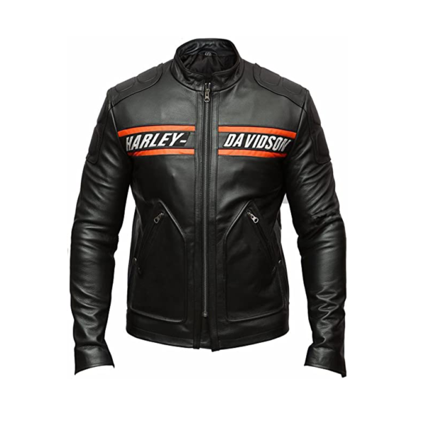 Mens Motorcycle Bikers Genuine Black Leather Jacket Outfit