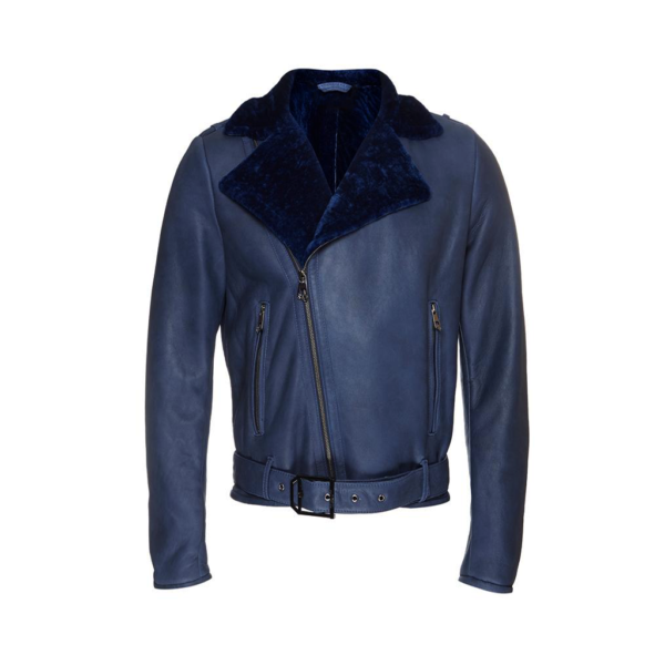 Motorcycle Bikers Shearling Blue Leather Jacket for Mens