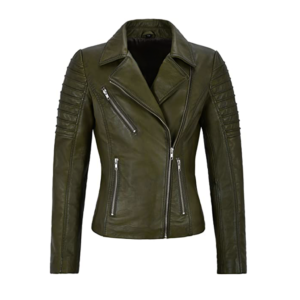 Womens Moto Biker's Style Olive Green Leather Jacket